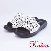 kadia.綻放花朵鏤空真皮拖鞋(9065-10白色)
