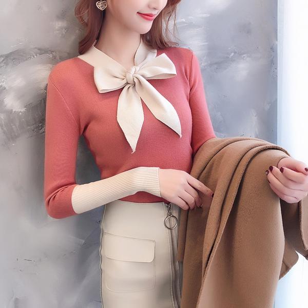 清倉188 韓國風拚色洋氣初秋針織長袖上衣