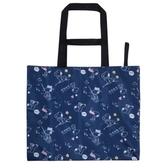 小禮堂 史努比 折疊尼龍環保購物袋 環保袋 側背袋 手提袋 (深藍 掃把) 4521417-29866