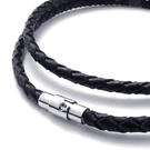 《 QBOX 》FASHION 飾品【L10021148】精緻個性黑色編織真皮革鈦鋼磁扣式項鍊子/黑皮繩