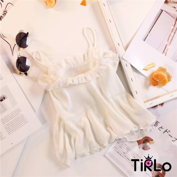 背心 -Tirlo-雪紡滾邊細肩帶背心-四色