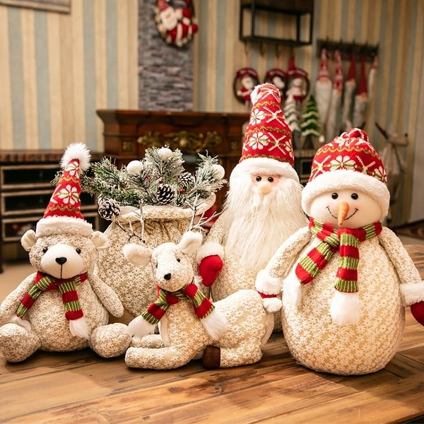 聖誕節飾品裝飾老人擺件聖誕節裝飾品場景布置馴鹿公仔麋鹿雪人WD 亞斯藍