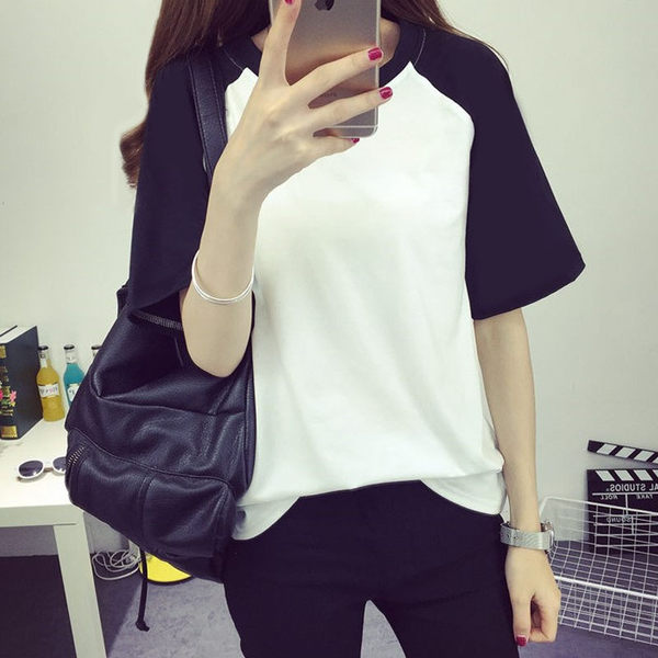 (全館免運)DE SHOP短袖T恤 韓版休閒寬鬆圓領T恤  (T-0743 )均碼