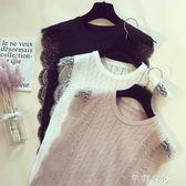 夏裝新款韓版蕾絲針織背心女無袖外穿冰絲打底T恤ins超火上衣    芊惠衣屋