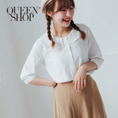 Queen Shop【01096498】簡約素色荷葉領造型澎澎袖上衣 兩色售*現+預*