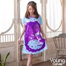 Young Curves 牛奶絲質連身睡衣(紫色星空小兔C01-100564)