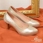 專櫃女鞋 山茶花水鑽圖騰高跟鞋-艾莉莎Alisa【112892】金色下單區