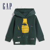 Gap男幼童 三維立體恐龍造型連帽休閒上衣 619704-墨綠色