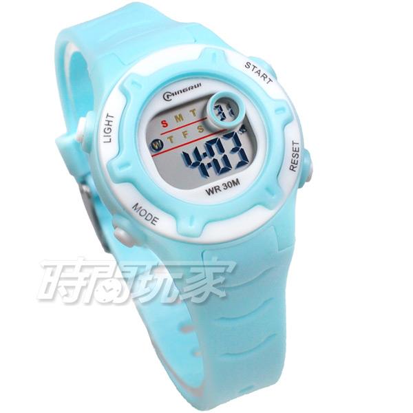 MINGRUI 馬卡龍 多色搭配 多功能 計時碼表 電子錶 學生錶 兒童手錶 女錶 日期 MR8203淺藍