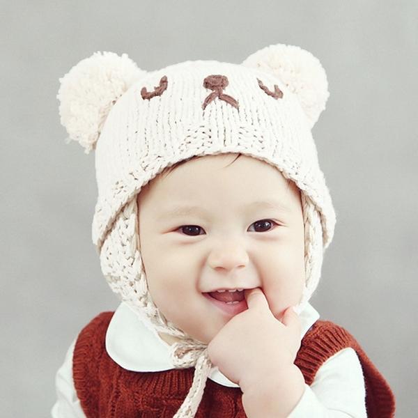 帽子 兒童 小熊 雙球 毛線帽 寶寶 綁帶 針織帽