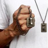 潮項鍊健身小啞鈴信仰力量信念鎖扣古銀色方牌男女情侶吊墜項鍊