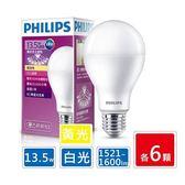 PHILIPS飛利浦 13.5W LED廣角燈泡 超值12入組 (白光6.黃光6)