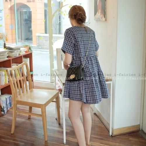 現貨+快速★短袖洋裝 格子荷葉邊清新可愛A字連身裙★ifairies【28732】