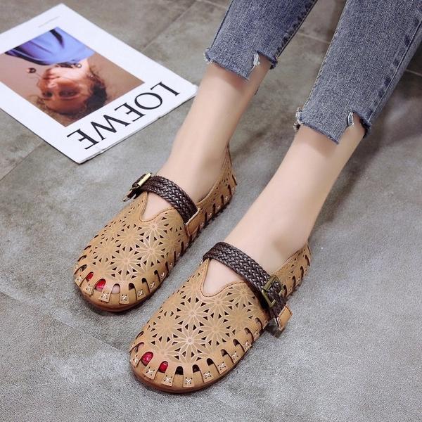 娃娃鞋chic涼鞋女夏2020新款復古娃娃鞋森繫鏤空透氣奶奶鞋軟妹沙灘鞋女 萊俐亞