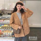 秋裝女裝韓版寬鬆百搭中長款薄款學生休閒開衫長袖夾克上衣外套潮     原本良品