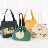 便當包 便當包便攜手提束口帆布袋加厚學生上班族保溫手繪飯盒袋 夢藝家