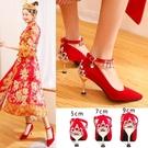 中式婚鞋女新款細跟紅色結婚