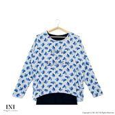 【INI】優雅率性、優美印花可拆式假兩件上衣.灰色
