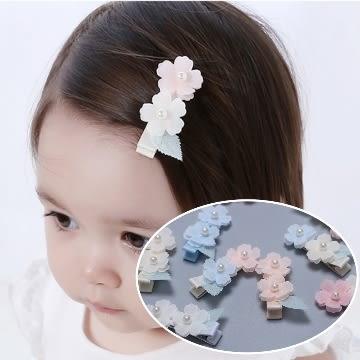 UNICO 韓版 兒童超萌雙珍珠花朵髮夾(二入組)