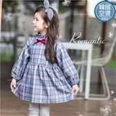 韓國童裝~新年-超柔細絨格紋氣質上衣小洋裝(260661)★水娃娃時尚童裝★