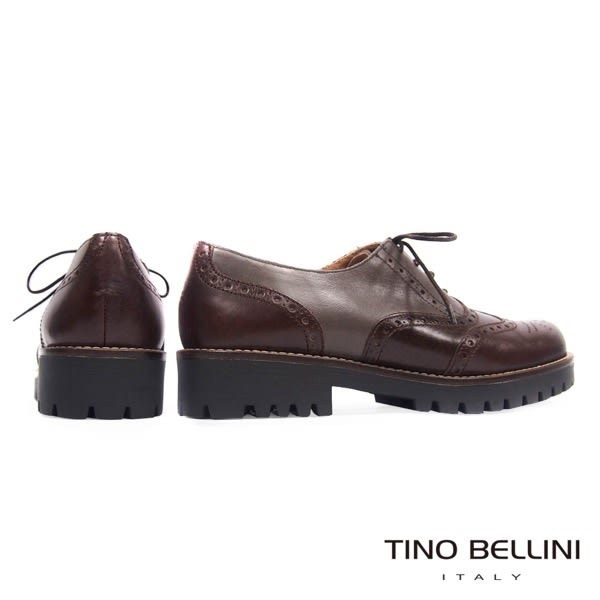 Tino Bellini西班牙進口秋調3色拼縫牛津鞋 _ 咖  A69014  歐洲進口款