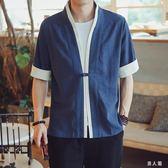 中大尺碼 民族風開衫中國風亞麻禪修居士服唐裝短袖中式漢服外套男 zm2994『男人範』