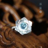 藝術素銀立體層疊蓮花鑲托帕石石榴石純銀戒指/設計家