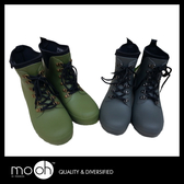 歐美男士中筒綁帶登山雨靴 橡膠防水素色鐵扣短筒雨鞋 mo.oh (男士鞋款)