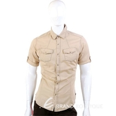 KENZO 雙口袋休閒短袖襯衫(卡其色) 0810368-28