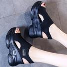2021夏季新款針織魚嘴鞋仙女風鬆糕底高跟飛織坡跟厚底運動女涼鞋 維多原創