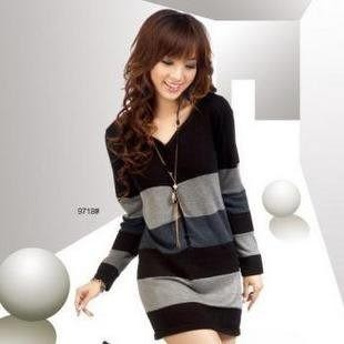 秋裝新品韓版條紋修身針織衫針織裙