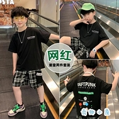 運動套裝時尚中大童韓版短袖兒童格子五分褲【奇趣小屋】