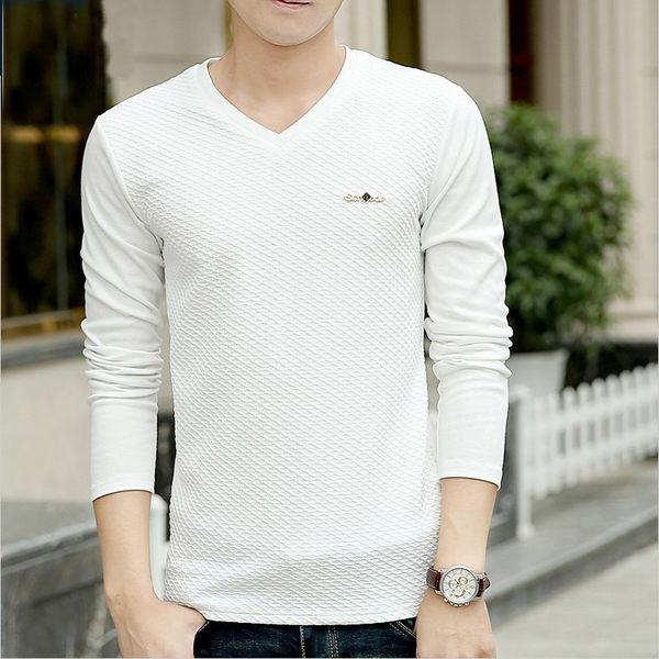 男士薄款t恤韓版修身長袖上衣精神小伙社會v領打底衫體恤潮流男裝