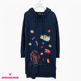 【SHOWCASE】休閒英倫圖案印花連帽長袖棉T洋裝(藍)