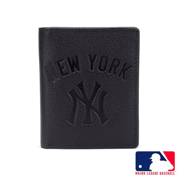 Backbager 背包族【MLB美國大聯盟】洋基 簡單直式牛皮皮夾/短夾/錢包/男夾(黑色)