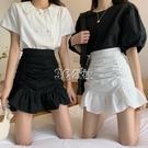 魚尾裙 魚尾裙半身裙女春季新款高腰A字短裙褶皺包臀荷葉邊白色裙子