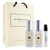 Jo Malone 青檸羅勒葉+藍風鈴(9mlX2)+牡丹與胭紅麂絨針管香水 -贈提袋