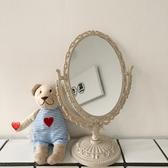 韓風chic簡約少女心歐式公主風浮雕宿舍寢室房間鏡子化妝鏡擺台鏡    蘑菇街小屋
