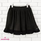 【SHOWCASE】輕暖毛呢絨感蕾絲拼接俏麗百褶短裙(黑)