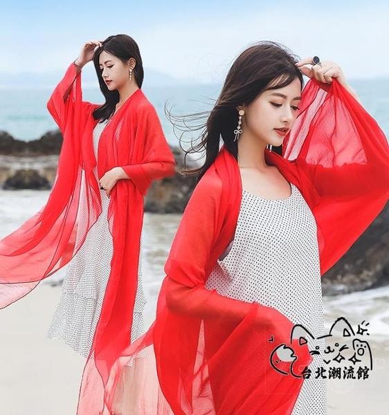 沙灘披肩 長款圍巾女海灘紗巾超大紅絲巾薄款防曬披肩夏季海邊沙灘兩用 VK2453