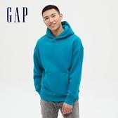 Gap男女同款 簡約風格純色連帽休閒上衣 627533-孔雀藍