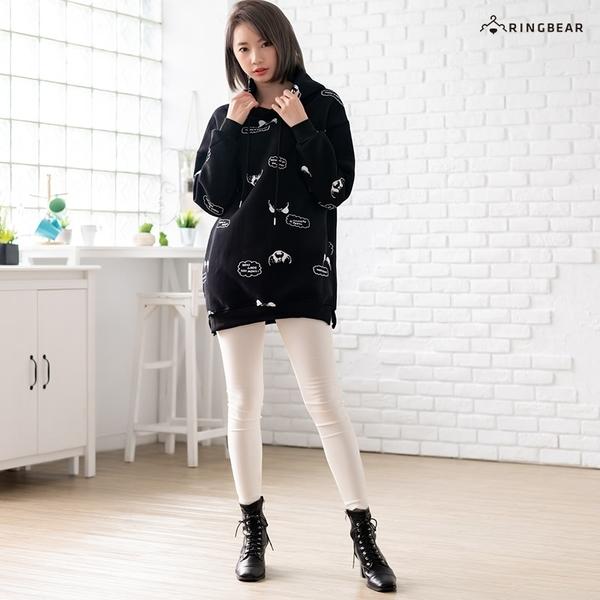 帽T--可愛熊貓滿版印圖衣襬開衩長版長袖刷毛抽繩連帽上衣(黑.粉L-3L)-X419眼圈熊中大尺碼