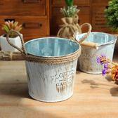 [超豐國際]鐵藝復古簡約鐵桶花盆 客廳裝飾鐵皮花桶 帶麻繩提1入