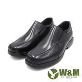 W&M(男)圓頭流線壓紋直套款 皮鞋 男鞋 -黑