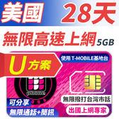 【TPHONE上網專家】美國U方案 28天無限上網+通話+簡訊 前面5GB支援高速 贈送台灣市話