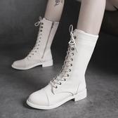 黑色馬丁靴女2020秋季新款時尚帥氣機車中筒高筒英倫風騎士靴短靴 依凡卡時尚