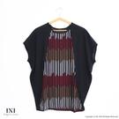 【INI】夏日雪紡、寬版撞色豎條配色雪紡上衣.黑色