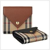 Burberry LILA VINTAGE 金字LOGO格紋帆布4卡牛皮扣式短夾 (兩色)