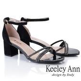 ★2019春夏★Keeley Ann細條帶 交叉繞帶水鑽真皮粗跟涼鞋(黑色)-Ann系列