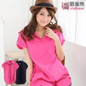 長版襯衫--優雅迷人抓皺雙口袋長版造型襯衫(白.黑.粉.藍S-2L)-H99眼圈熊中大尺碼◎